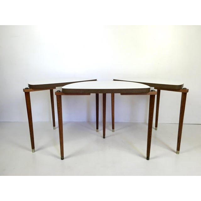 Brass Mid-Century Modern Nesting Tables Half Moon - S/3 For Sale - Image 7 of 8