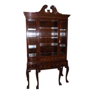 Baker Furniture Stately Homes Walnut Display Cabinet For Sale