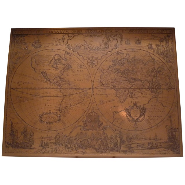 Handmade Bronze Brass Map - Image 1 of 7