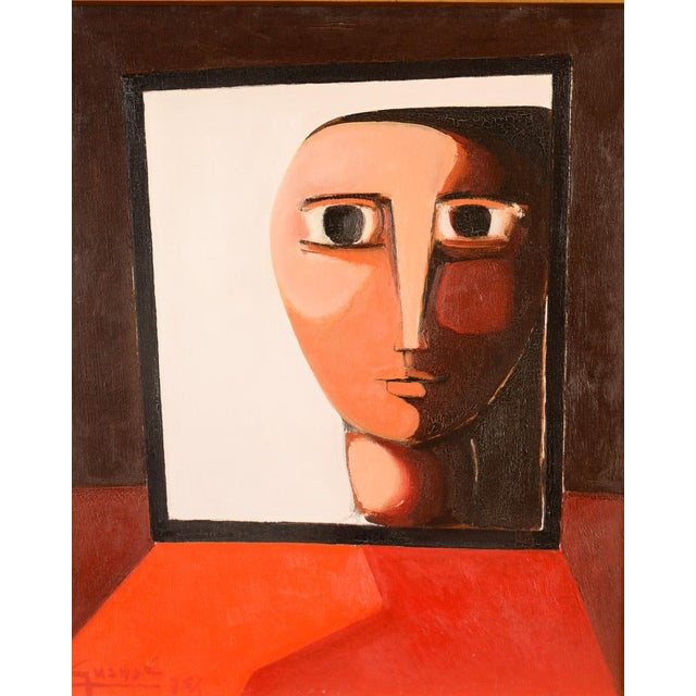 Modern Antonio Guanse 'Abstract Face by the Window' Oil Painting -1960s For Sale - Image 3 of 10