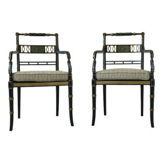 Rgb English Neoclassical Decorated Chairs - a Pair For Sale