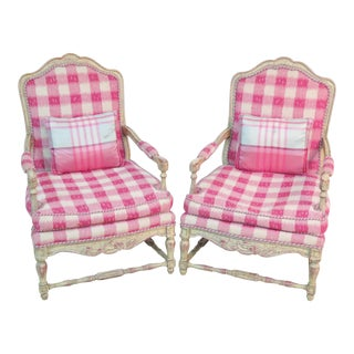 French Country Style Red and White Plaid Armchairs - a Pair