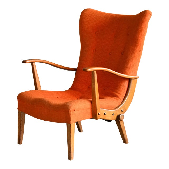 Otto Færge Attributed Reclining Lounge in Teak, Denmark, 1950s For Sale