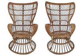 Image of Rattan Wingback Chairs