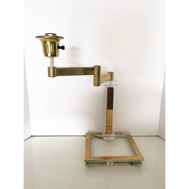 Vintage Italian Lucite and Brass Swing Arm Lamp - Image 2 of 5