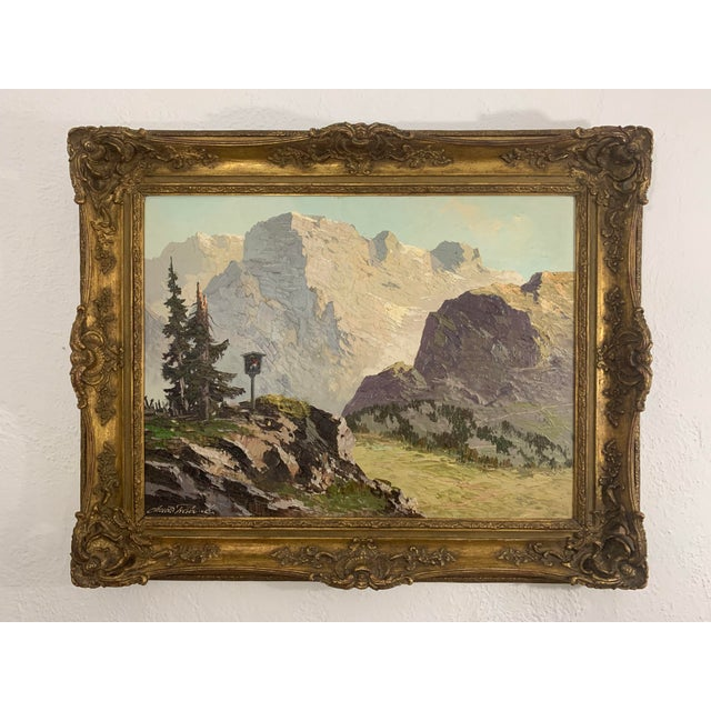 Swiss Alp Mountain Scene, oil on canvas. painting. Artist name partially legible - Arnold Frabred (?). Painting framed in...