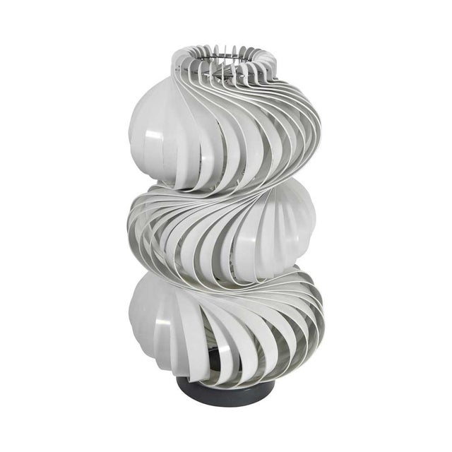 """"""" Medusa """" Lamp spiral body composed of crushed metal blades and decreasing lacquered white shape on a circular base in..."""