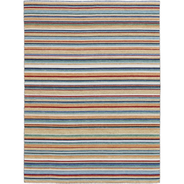 Elana Striped Camel Flat-Weave Rug 4'x6' For Sale - Image 4 of 4