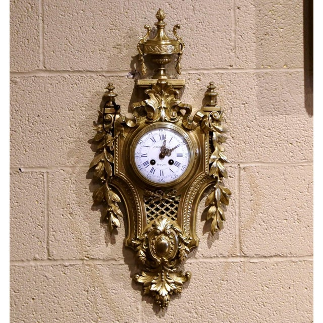 19th Century French Louis XVI Bronze Dore Cartel Wall Clock Signed Charpentier For Sale - Image 10 of 10