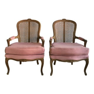 Vintage Fence Cain Bergere Chairs - A Pair