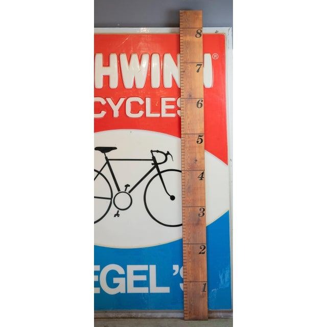 Vintage Acrylic Lucite Reverse Embossed Schwinn Bicycle Sign For Sale - Image 4 of 6