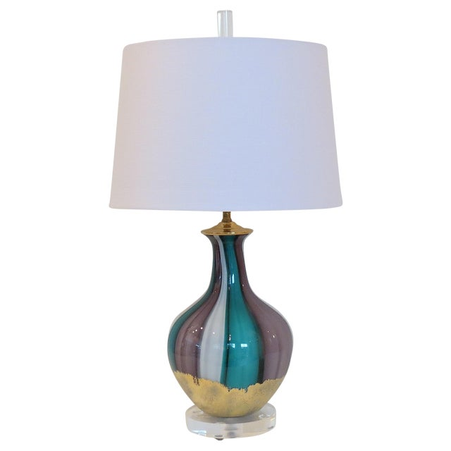 Venetian Swirl Turquoise Lilac Gold Glass Lamp - Image 1 of 7