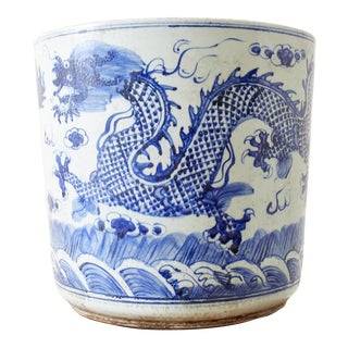 Chinese Export Blue and White Dragon Planter For Sale
