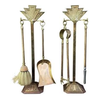 Antique Art Deco Fireplace Tool Set For Sale