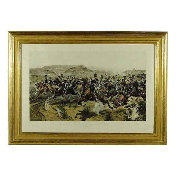 19th-C. steel engraving on woven paper with hand coloring of The Charge of The Light Brigade after R.C. Woodville, and...