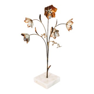1960s Vintage Italian Brutalist Flower Marble Sculpture For Sale
