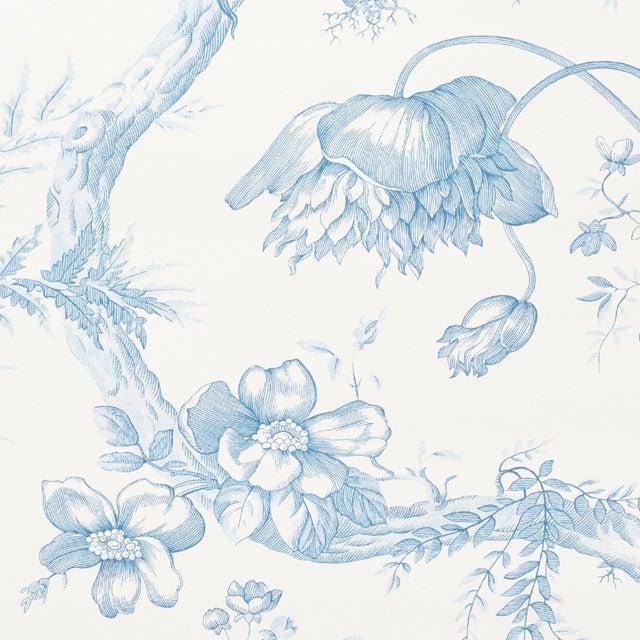 Contemporary Sample - Schumacher Toile De Fleurs Wallpaper in Delft For Sale - Image 3 of 4