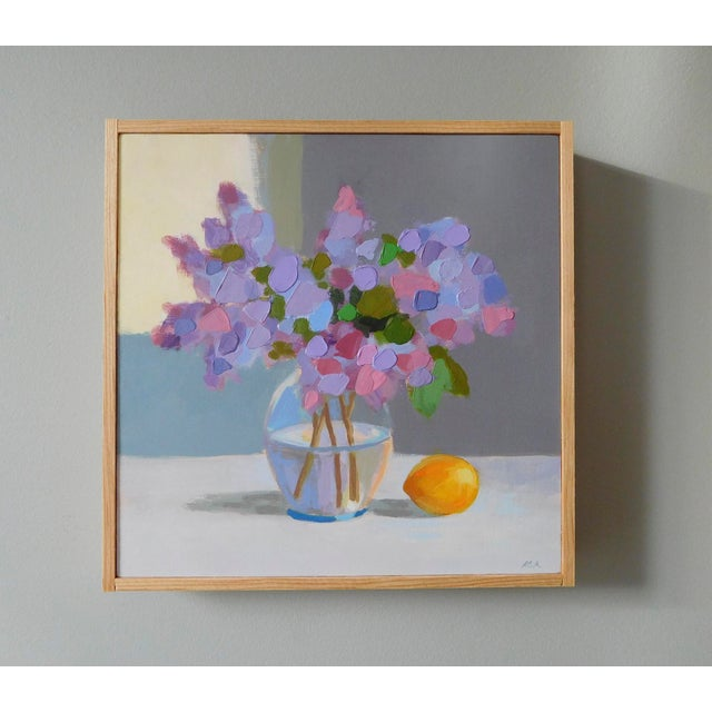 Abstract Expressionism Lilac With a Lemon by Anne Carrozza Remick For Sale - Image 3 of 6
