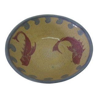 Vintage European Style Fish and Waves Ceramic Bowl
