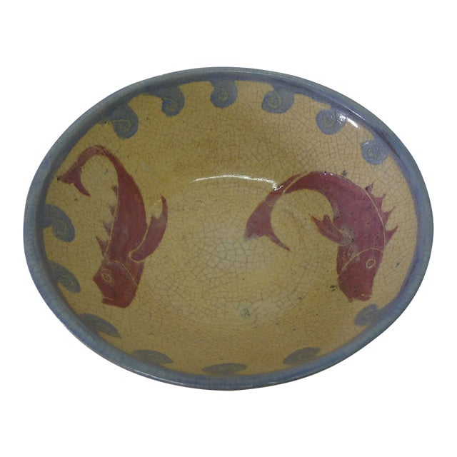Vintage European Style Fish and Waves Ceramic Bowl For Sale