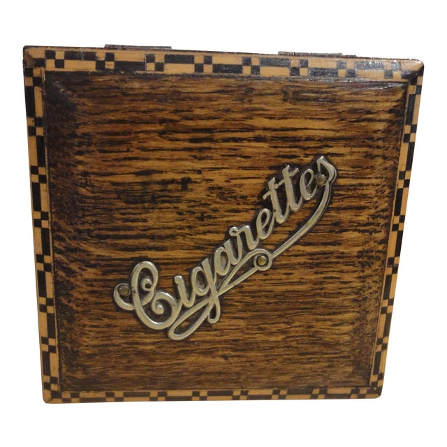 Antique French Wooden Cigarette Box - Image 1 of 4