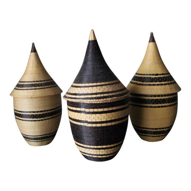Rwanda Handmade Baskets - Set of Three For Sale