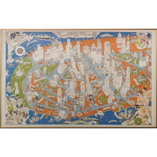 Map of the Downtown District of Manhattan C1938 For Sale