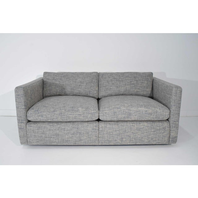 Knoll Charles Pfister for Knoll Settee in Pollack Blue Weave Fabric For Sale - Image 4 of 10