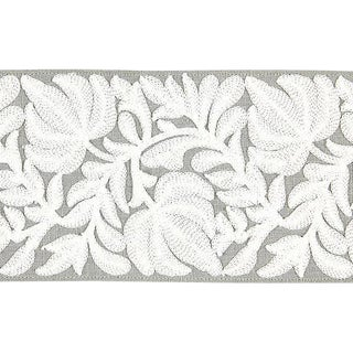 Sample, Scalamandre Coventry Embroidered French Grey Tape For Sale