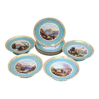 1850s Hand-Painted Castles Dinner - Svc. For 10 For Sale