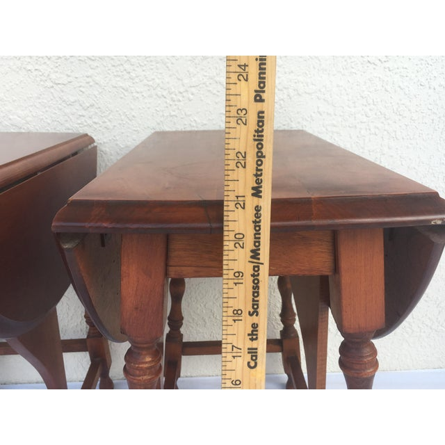 Small Miniature Drop Leaf Side Tables- a Pair Early 20th Century Vintage For Sale - Image 4 of 13