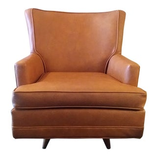 Mid-Century Naugahyde Leather Swivel Rocker Arm Chair For Sale