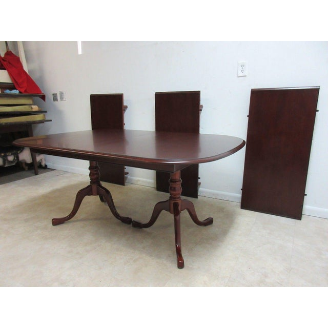 Traditional Pennsylvania House Cherry 3-Board Pedestal Dining Table For Sale - Image 3 of 11