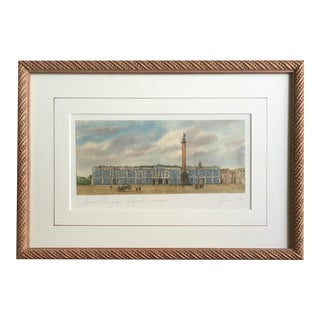 Watercolor With Pen & Ink, the Hermitage, Framed For Sale