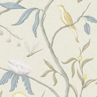 "Lewis & Wood Adam's Eden Scandi Extra Wide 51"" Botanic Style Wallpaper For Sale"