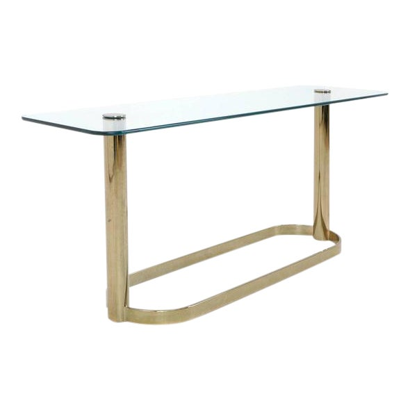 Pace Collection Glass Console/Sofa Table, Brass Base Nice Patina For Sale