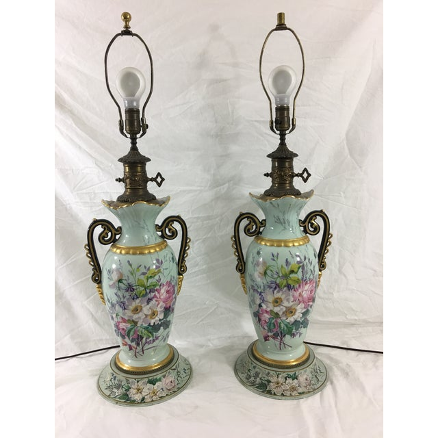 Old Paris Springtime Lamps With Hand-Painted Toile Base - a Pair For Sale - Image 11 of 11