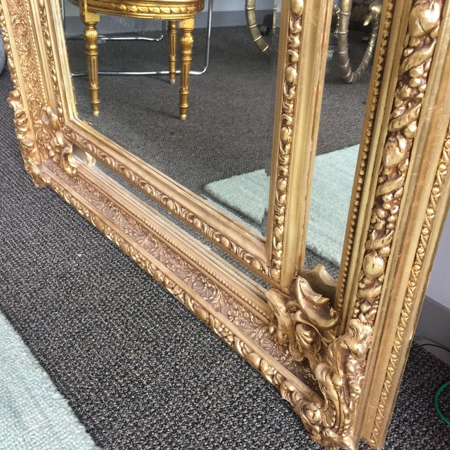 Gilded Scrolling Floor Mirrors - A Pair For Sale - Image 5 of 8