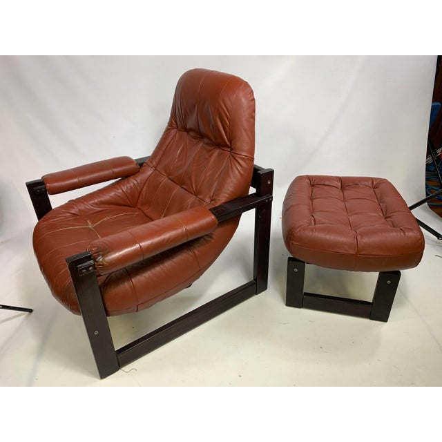 Percival Lafer Brazilian Rosewood Lounge Chair & Footstool For Sale - Image 10 of 13