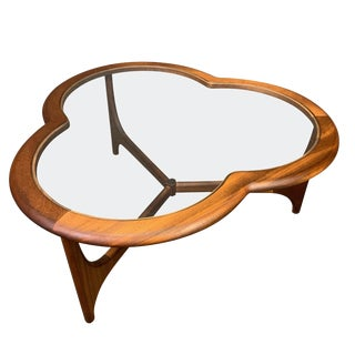 """1960s Mid Century Modern Stonehill Teak and Glass """"Clover Leaf"""" Coffee Table For Sale"""