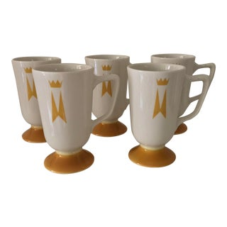 1960s Homer Laughlin Mid Century Modern Saffron Footed Mugs - Set of 5 For Sale