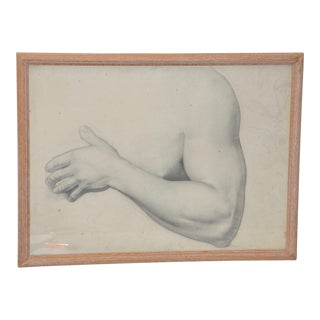 Vintage Study of Torso and Arm Original Graphite Figure Drawing C.1960s For Sale