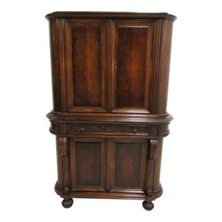 Antique Berkey Gay French Empire Walnut Hutch China Cabinet Breakfront