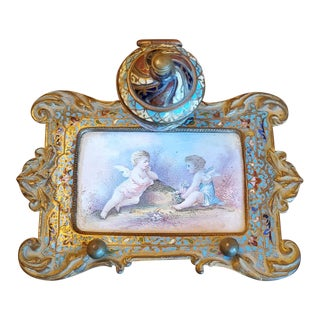 19th Century French Enameled Champlevé Gilt Bronze Inkwell For Sale
