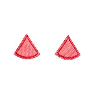 Hermès Red Lizard Triangular Earrings For Sale