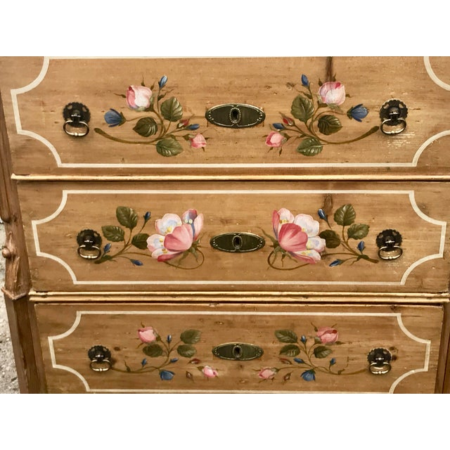 Early 20th Century Antique Dutch Folk Decorated Pine Chest For Sale - Image 5 of 12