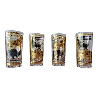 Vintage Mid-Century Modern Gold Leaf Tumblers - Set of 4 For Sale