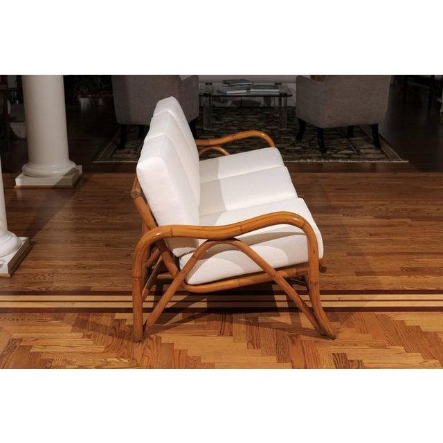 Wicker Fantastic Restored Vintage Modern Rattan Three-Seat Sofa For Sale - Image 7 of 8