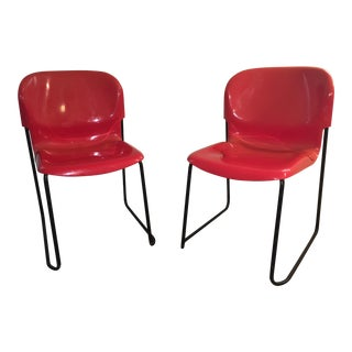 Cassina Nova Red Stacking Shell Chairs - a Pair