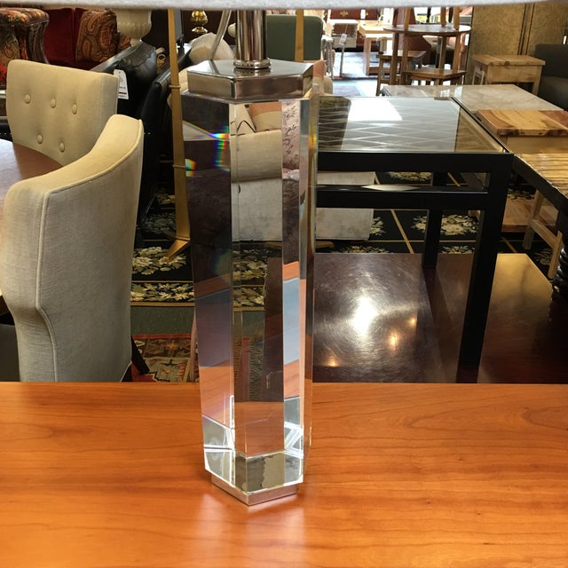 Restoration Hardware Hexagonal Column Crystal Table Lamps- A Pair - Image 4 of 9